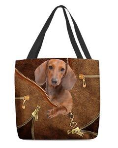 Dachshund Cool Canvas Tote Bag Shoulder Bag, Wiener Dog, Badger Dog, Sausage Dog