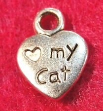 "20Pcs. Tibetan Silver "" LOVE MY CAT "" Heart PAW Charms Pendants Ear Drops  C03B"