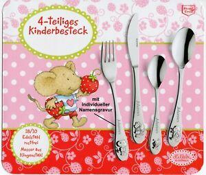 Kinder-Besteck LILLEBI (4 Teile) inkl.Gravur (max.10 Zeichen) nur 19,50 EUR