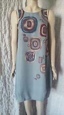 Rutzou 100% silk grey A line circle printed sleeveless dress size 38