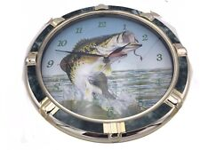 Wildlife Collection Fishing Large Mouth Fish Bass Battery Operated Wall Clock