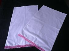 A SUPER PAIR of VINTAGE PILLOW CASES with PINK CROCHET LACE EDGE
