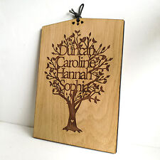 Personalised Wooden Family Tree Plaque, Gift Decoration. Perfect Christmas Gift