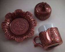 Turkish Espresso Coffee Mug Cup Porcelain Insert Lid Saucer Gold Silver Copper