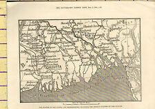 Carte de 1876 ~ inde bouche du gange & brahmapootra cyclone illustré ldn news
