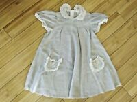 Vintage Ruth of Carolina Girls Dress Size 4T Sheer Poly Cotton Lace Detail Gray