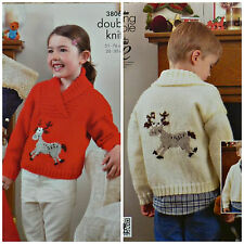 Knitting Patterns Christmas Reindeer Jumper 6 Sizes age 2-13 yrs  C109