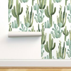 Removable Water-Activated Wallpaper Watercolor Cactus Desert Cacti Greenery