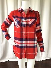 Grace & Lace Womens Top Plaid Button Down Long Sleeve Shirt Red Blue Size XS