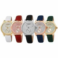 Women's Akribos XXIV AK1089 Sub-Second Crystal Diamond Glitter Leather Watch