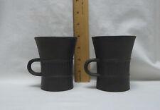 2 Vintage Dansk Brown Flamestone Fluted Mugs Cups IHQ Denmark Jens Quistgaard