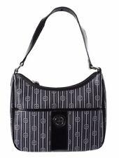 Giani Bernini $100 NWT Black Grey Signature Stripe Hobo Bag Monogram PVC