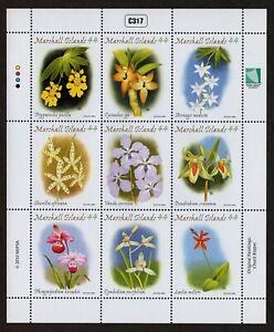 MARSHALL ISLANDS, SCOTT # 976, FULL SHEET OF 9 ORCHIDS, FLOWERS & PLANTS, 2010