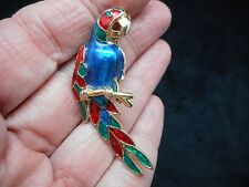 Authentic Vintage-1980's Teal, Red & Green Enamel Parrot Bird Brooch