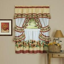 sunflower floral kitchen curtain set - black eyed susan burgundy / yellow
