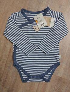 STEIFF Baby Wickel Body GOTS Gr. 80 Blau gestreift NEU