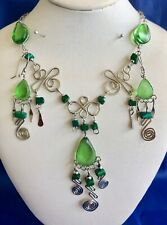 Earrings Set Alpaca Silver Peru Peruvian Green Teardrop Glass Necklace