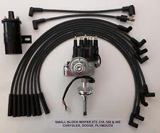 MOPAR 318-340-360 BLACK SMALL HEI Distributor + Black 45K Coil +Spark Plug Wires