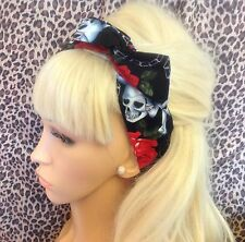 BLACK SKULL RED ROSE PRINT BENDY WIRE WIRED FABRIC HAIR HEAD BAND ROCKABILLY