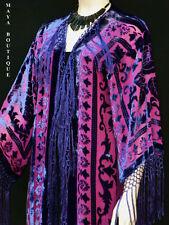 Fringe Jacket Kimono Burnout Velvet Silk Magenta & Purple Maya Matazaro