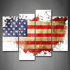 [Framed] American Flag USA Map Modern Canvas Prints Picture Wall Art Home Decor