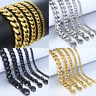 Gold Silver Thick Heavy Mens Cuban Link Bracelet High Quality Stainless Steel