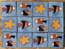 """12~Talavera Mexican 4"""" tile kiln fired hand painted STAR FISH SWIMMING OCEAN"""