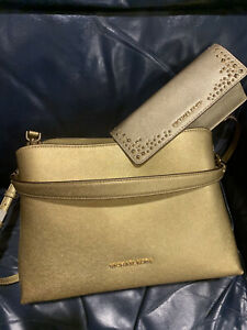 New With Tags.  Michael Kors Sofia Gold Large East West Satchel Shoulder Purse