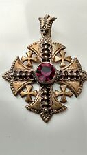 Vintage Medieval Sterling Jerusalem Cross Pendant Purple Stone