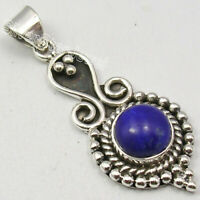 "Sterling Silver Lapis Lazuli 1.9 Ct Pendant 1.5"" 4.2 Grams Ladies Jewelry"