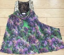 Postmark Silk Drapey Photobloom Cowlneck Tunic Top Size 2 NW ANTHROPOLOGIE Tag