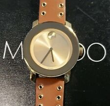 Movado Bold 3600543 Watch With 38mm Golden Face & Brown Leather Band