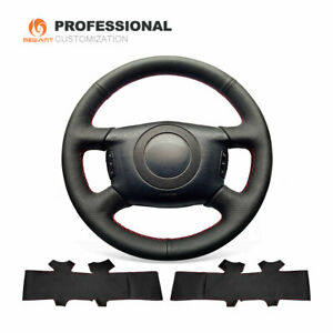 Custom Black Genuine Leather Steering Wheel Cover for Audi A4 A6 A8 S4 Allroad