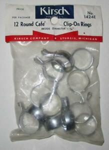 """Vintage Kirsh Round Cafe Clip-On Rings Pkg of #1424E NOS Fits Rods Up to 1/2"""""""
