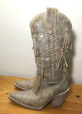 Corral Ladies Brown Distressed Tassel Cowboy Western Boots Snip Toe Womans 8 M