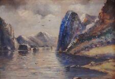 C. (Carl) HILGERS - antik Ölgemälde vor 1900 : NORDISCHER FJORD MIT FELSEN