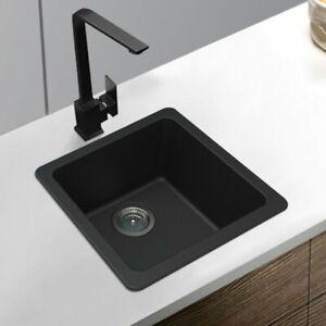 ARETE STONE 422mm Square Premium Black Quartz Granite Kitchen Laundry Sink