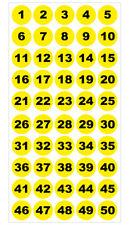 Runde Zahlenaufkleber 1-50, Vinyl - 30mm - schwarze Zahlen auf gelb