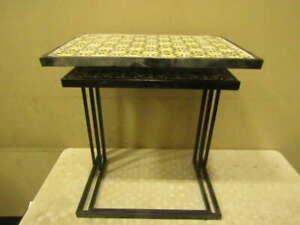 Plow & Hearth Handmade Ceramic Tile Nesting Tables, Set of 2