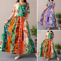 Womens Summer Half Sleeve O Neck Floral Print Casual Loose Tunic Long Maxi Dress