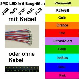 10 Stück SMD LED 0402 0603 0805 1206 3528 fertig Verkabelt oder ohne Kabel
