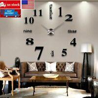 Modern DIY Large Wall Clock 3D Mirror Surface Sticker Home Office Room Decor Set