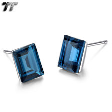 TT 925 Sterling Silver Princess Cut Crystal Earrings A Pair (925E01)
