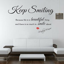 KEEP SMILING HOME QUOTE MURAL DECAL DECOR WALL WALLPAPER STICKER REMOVABLE UK