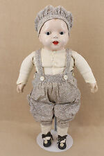"22"" old antique composition cloth baby doll with INTERESTING printed cloth body"