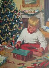 Christmas Boy Playing with Lincoln Logs Nostalgic art print