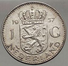 1957 Netherlands Kingdom Queen JULIANA 1 Gulden Authentic Silver Coin i56617