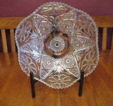 Beautiful Imperial Glass Clear Cosmos Large Serving Bowl - Flower & Cane Pattern