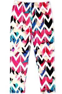 CLASSIC HELLO PINK One Size White & Multi-Colored Geometric Print Leggings NWT