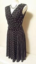 LAUREN RALPH LAUREN Women'S Black & White Tie Waist Polka Dot Dress Size 8